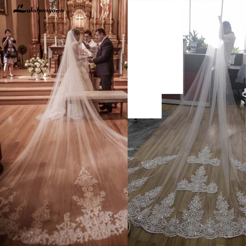 4 Meters One Layer Lace Tulle Long Wedding Veil New White Ivory 4 M Bridal Veil With Comb Wedding Accessories Voile De Mariage