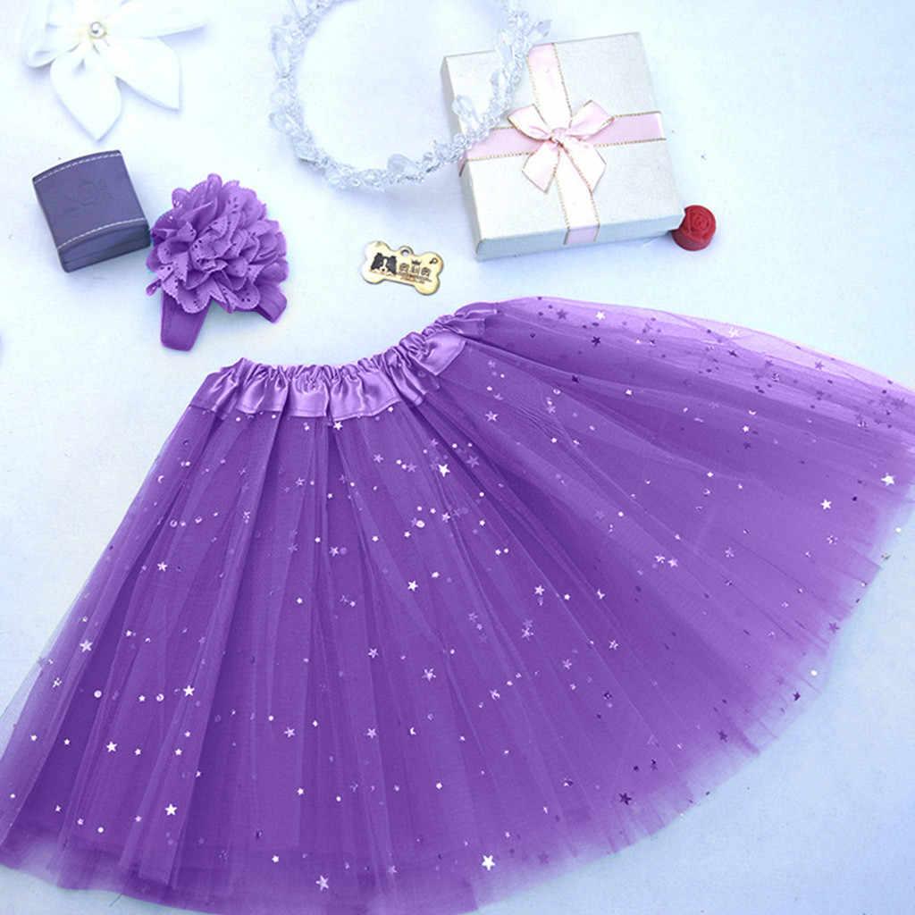 ילדי תינוק כוכב נצנצים ריקוד טוטו שמלת ילדה נצנצים טול פעוט Pettiskirt ילדי שיפון