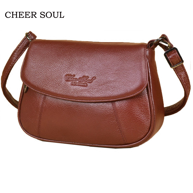 CHEER SOUL famous brand genuine leather ladies bag female shoulder crossbody bag for women casual fashion women's messenger bags cheer soul brand 2018 new handbags women bags genuine leather fashion handbags casual messenger bag large capacity shoulder bag
