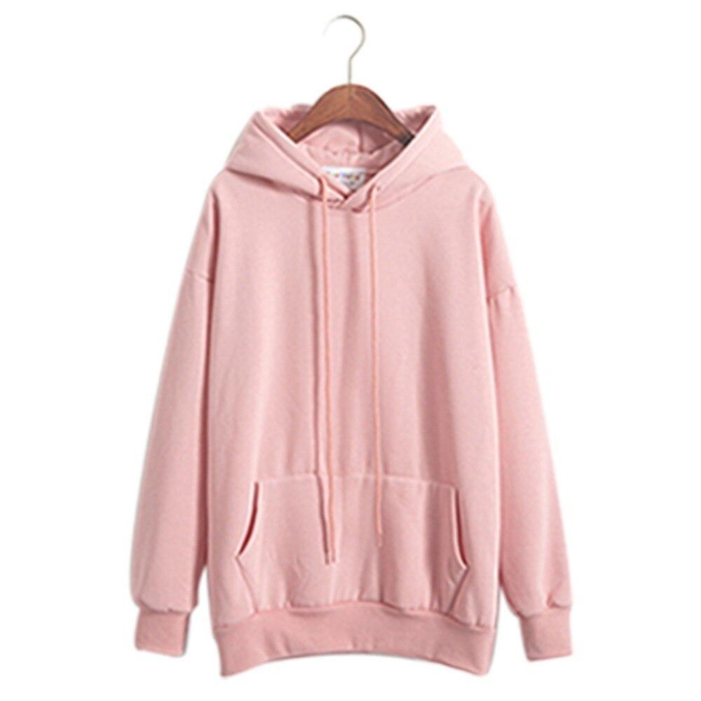a24a906fac9 Sudaderas mujer rosa sudaderas con capucha de manga larga con capucha  Casual Pullover sudadera de invierno de mujeres de Color sólido