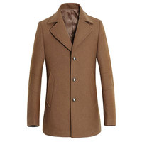 2016 Winter Pea Coat Men Fashion Design Mens Slim Fit Wool Blend Single Breasted Trench Coat