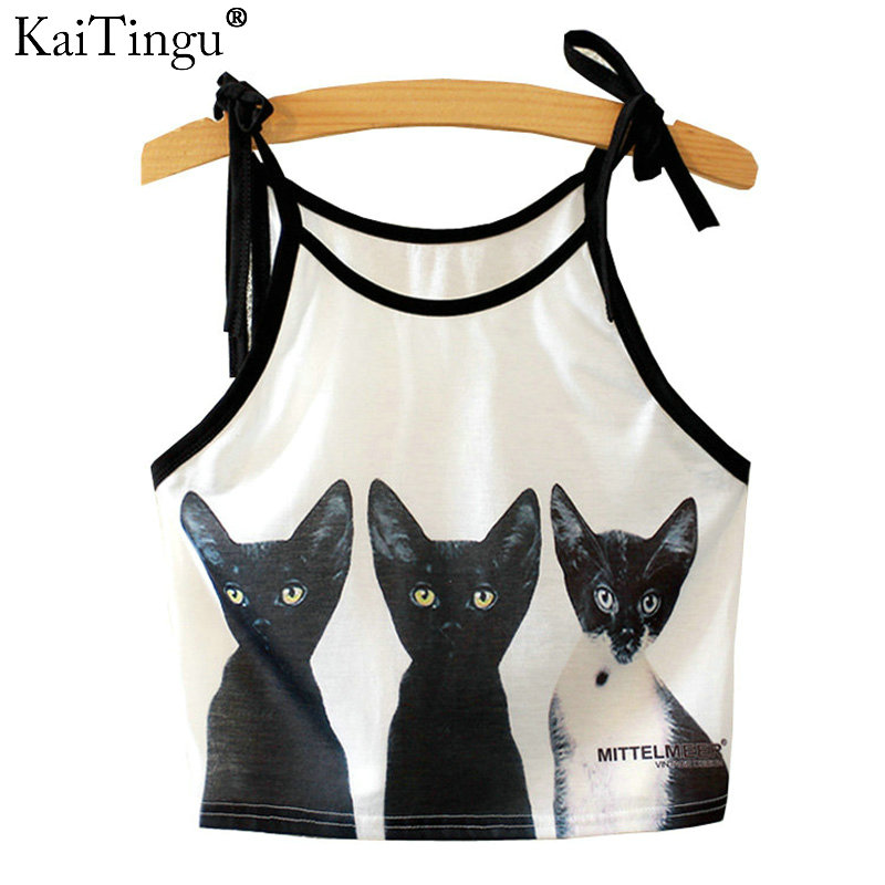 KaiTingu 2016 Brand New Fashion Women Sleeveless Three Cat Print Cropped Crop Top Casual Sport Fitness