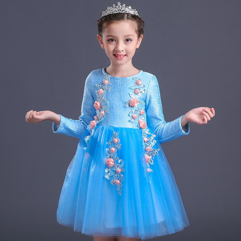 girl winter plus thick flower dress blue new year festival party girls floral fairy performance wear communion dresses cloth wholesale boy girl floral beauty skullies colored rhinestone flower style luxury winter hats for children 3 12 year kid beanies