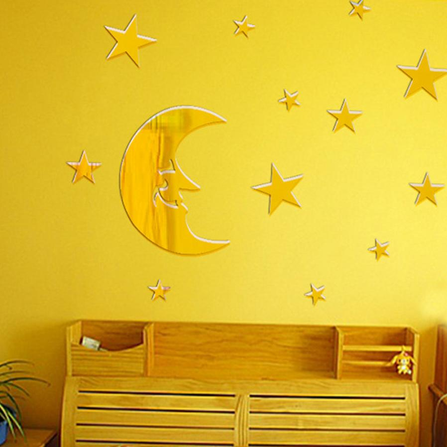 ③New Qualified Wall Stickers Stars And Moon Combination 3D Mirror ...