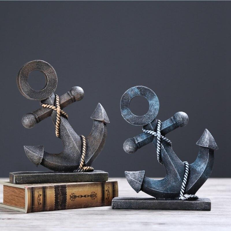 Modern Tarzı Deniz Serisi Dümen Süs Yaratıcı Ev Dekorasyon Zanaat Kişiselleştirilmiş Çapa Model Serin Reçine Noel çift Decoratie