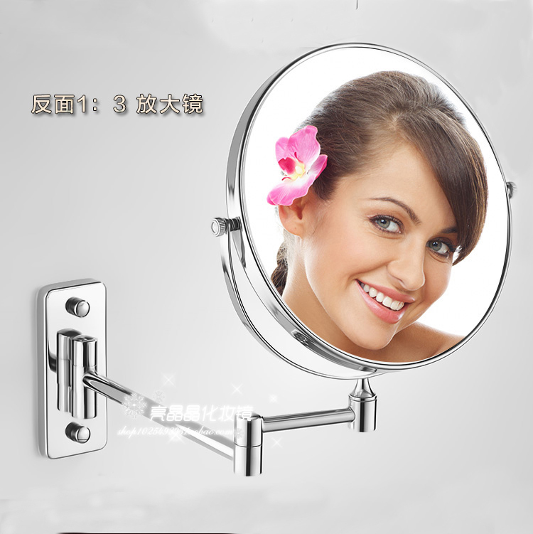 8 Double Side Bathroom Folding Brass Shave Makeup Mirror Chromed Wall Mounted Extend With Arm Round Base 3x Magnifying 1208 brass wall mounted ribbon lamp 8 5 round double side cosmetic mirror silver 220v