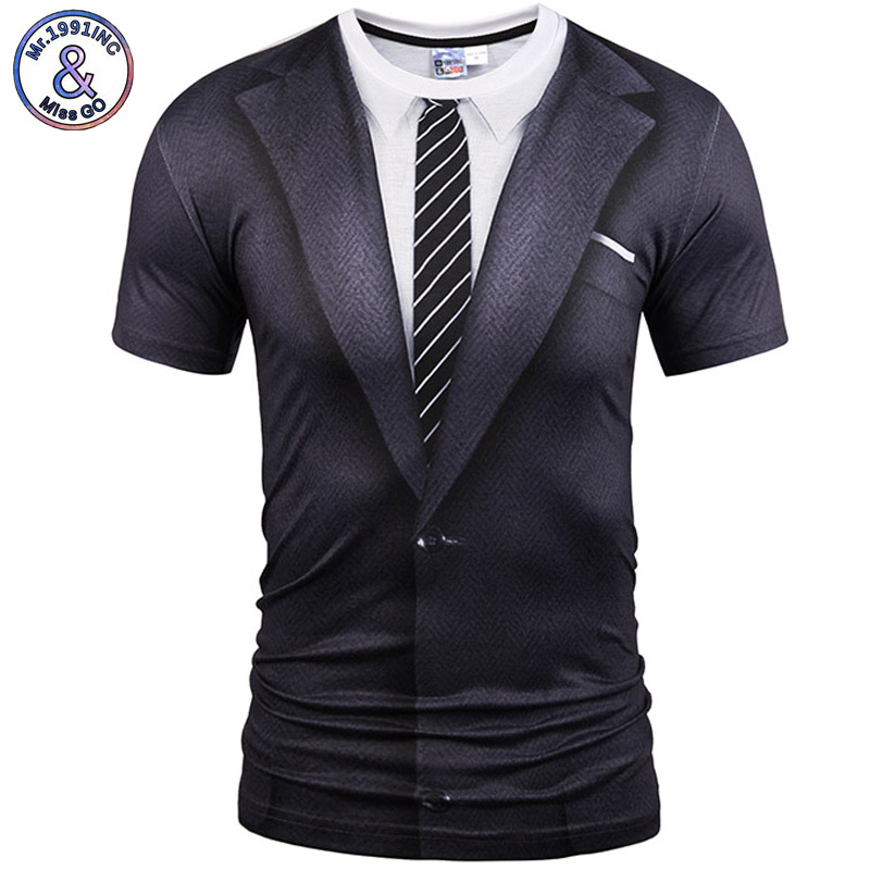Mr.1991INC&Miss Hot New Style Casual Men 3D T Shirt Short Sleeve tattoo black suit Digital Printing Summer Tops size S-XXXL 5988