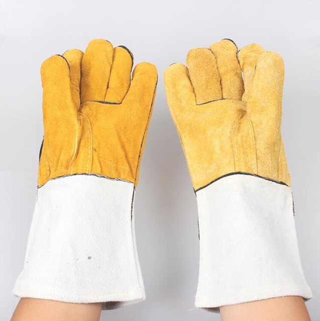 Safety Gloves Welding gloves  Workplace Safety Supplies Thicken Anti-cut Welding special leather gloves Division of duties work