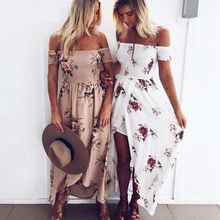 8ea19bb0452 Nibesser Women Slash Neck Floral Printed Boho Dress Fashion Beach Summer  Dresses Ladies Strapless Long Maxi