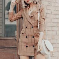 Femajor Female Autumn Fashion Plaid Slim Long Sleeve Blazer Dress Office Lady Khaki Button Pockets Blazer Women Bodycon Dress