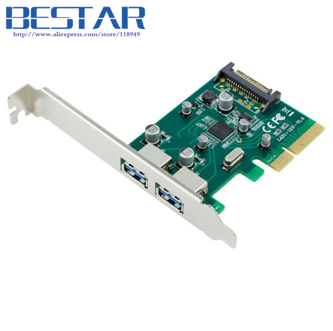 PCI-E 4x to USB 3.1 Type-A 2 Port Express Card with 5V 15 Pin SATA Power Supply Connector usb3.1 extension adapter card контроллер orient a1061s sata 3 2 ext 2 in port asmedia asm1061 pci e v 2 0 ret