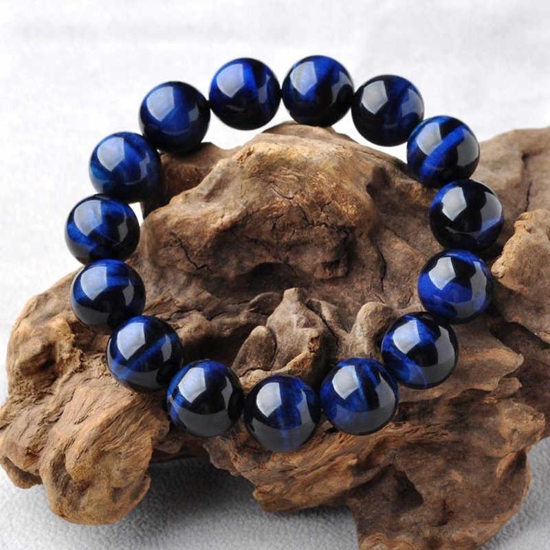 באיכות גבוהה כחול טייגר עין בודהה צמידי טבעי אבן עגול חרוזים גמישות חבל גברים נשים צמיד