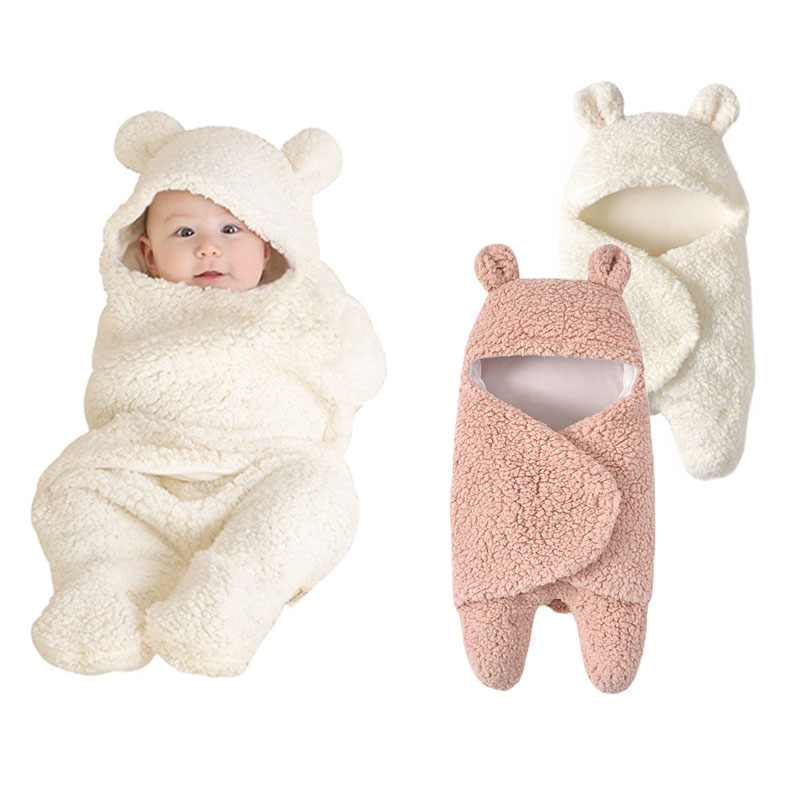 New!Baby Swaddle Wrap Infant Bear Photoshoot Newborn Sleeping Bag Baby Warm Swaddling Blanket Infant Stroller Sleep Bag Footmuff