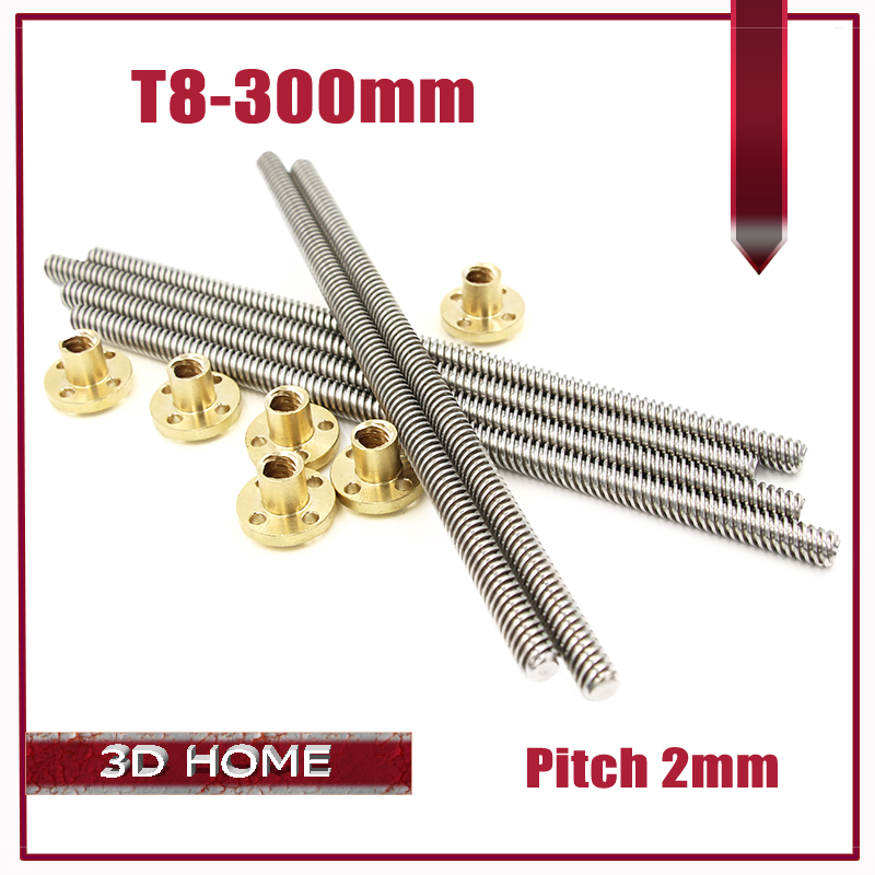 3pcs T8 8 mm Lead screw 300 mm 8mm lead trapezoidal spindle screw with 3pcs brass copper nut for 3D printer for CNC free shipping 10pcs 3d printer m8 trapezoidal screw for supporting all the copper nut stepper motor guide screw for lead screw