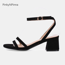купить 2019 new summer high chunky square heels concise sandals female ankle wrap buckle double toe strap flock cute casual shoes woman по цене 1391.2 рублей