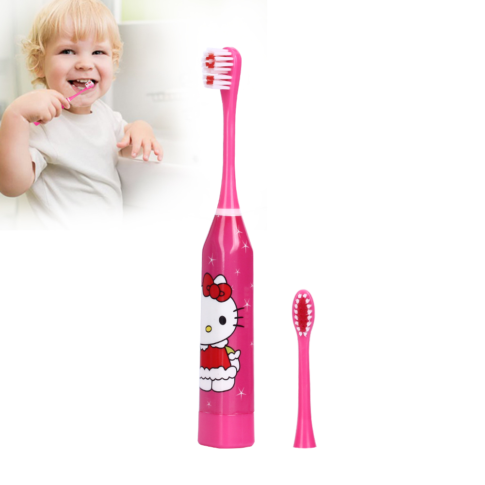 Cartoon Children Electric Baby Toothbrush Tooth Brush Sonic Electric Brush Teeth With 2pc Double-sided Replacement Heads Kids ckeyin cartoon dolphin children music electric toothbrush led tooth brush 22000 min kids sonic toothbrush electric 3 brush heads