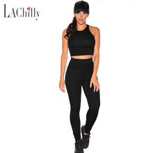 Black Women's Yoga set clothes fitness sport Suits kleding Racer Back sleeveless Two Pieces crop top with long Pant Sets 62013