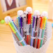 3pcs Creative Multicolor Ballpoint Pen Kawaii Six Color Pen Gel For Student Children Office and School Supplies Stationery items недорого