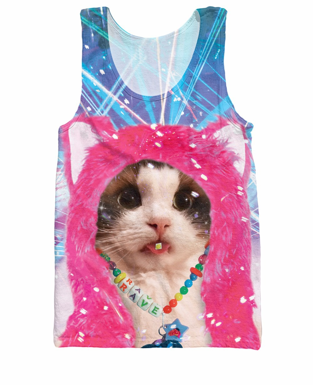 Fashion Clothing Tops Rave Kitty Tank Top Women Sexy Vest Men Casual Camis Summer Style Shirt tee plus size