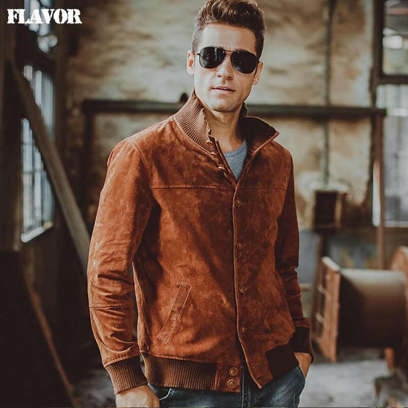 f15dc4bba20 Мужская куртка из свиной кожи натуральная кожа куртка из натуральной кожи  эластичная нить зимнее теплое пальто
