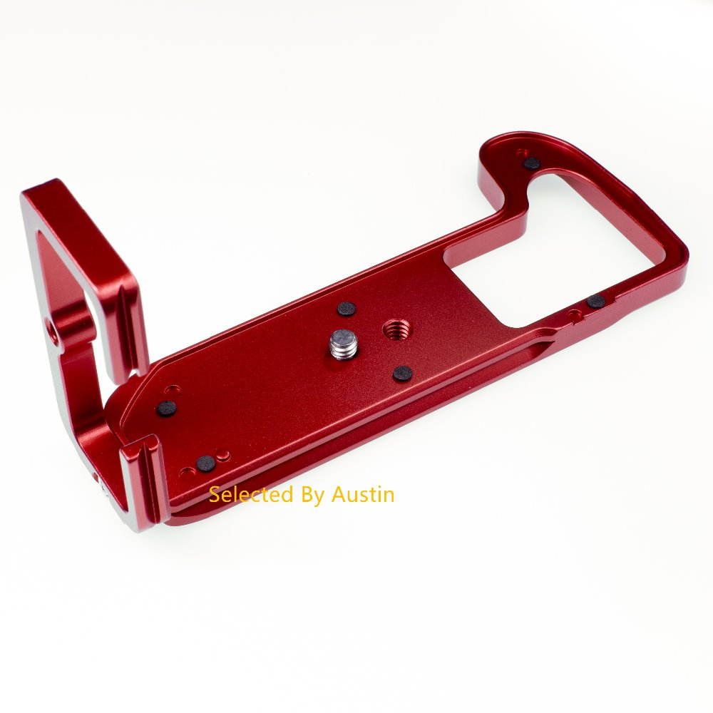 Red Aluminum Quick Release L Plate Bracket with Hand Grip Fr Fuji X H1 XH1 Fujifilm