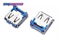 100 pcs de Cobre Cheio USB 3.0 9Pin USB Plug Conector de 90 graus Feminino Soquete SMT Patch