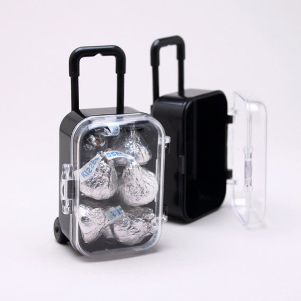 6 Clear Mini Rolling Travel Suitcase Favor Box Kids Birthday Favor Boxes Party Supplies Gifts Wedding Favors