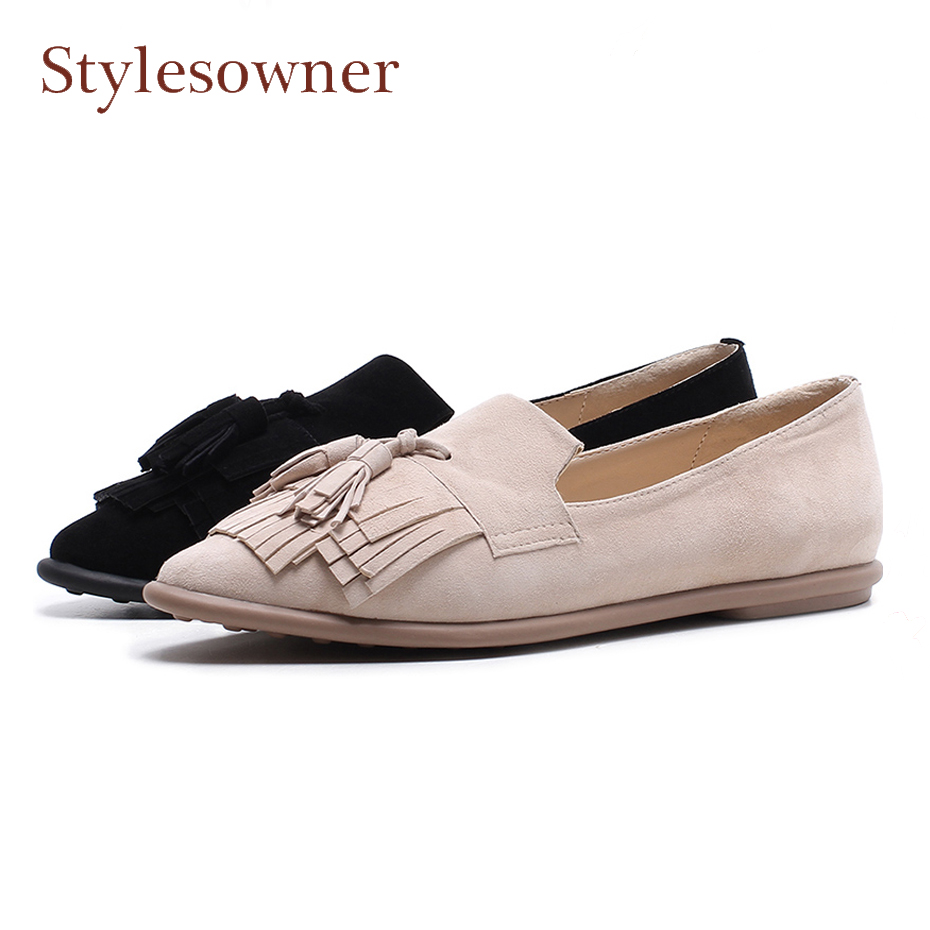Stylesowner pointed toe shallow mouth shoes women suede leather tassels slip on casual shoes fringe boats shoes women flats fashion metallic pu pointed toe women flats concise shallow mouth slip on flats for women ladies casual flat ballerinas shoes