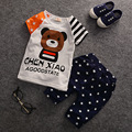 2017 New Criança Meninos Meninas Conjunto de Roupas de Verão Moda Infantil meninos Meninas Roupas Urso Dos Desenhos Animados Roupa Do Bebê T-shirt + Calças T532