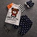 2017 Nuevo Niño niños Niñas Ropa de Verano Cabritos de La Manera niños Niñas Ropa de Bebé Oso de Dibujos Animados Ropa de La Camiseta + Pantalones T532