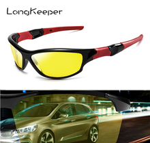 LongKeeper Night Vision Glasses Men Anti Glare Safety Driving Sunglasses Women HD Polarized Fog Day Sun