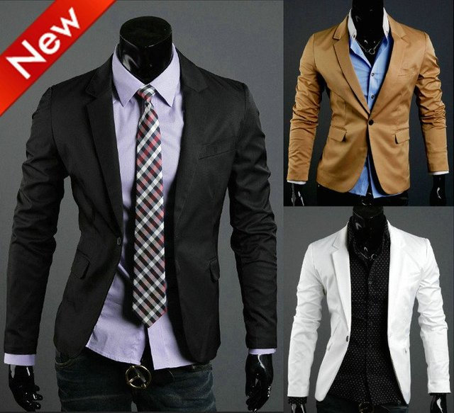 5657e5b35 NWT Brand New Men's Casual Slim Fit Sexy One Button Dress Suit Sports  Jacket Blazer Coat Top Outerwear Korean Free Shipping