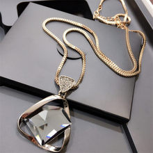 Lemon Value New Brand Geometry Rhinestone Long Necklace Vintage Punk Triangle Crystal Glass Pendant Necklace Women Jewelry ZA009(China)