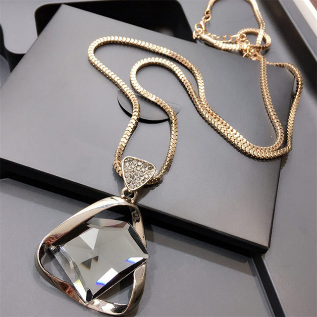 Glass Pendant Rhinestone Long Necklace (2 colors)