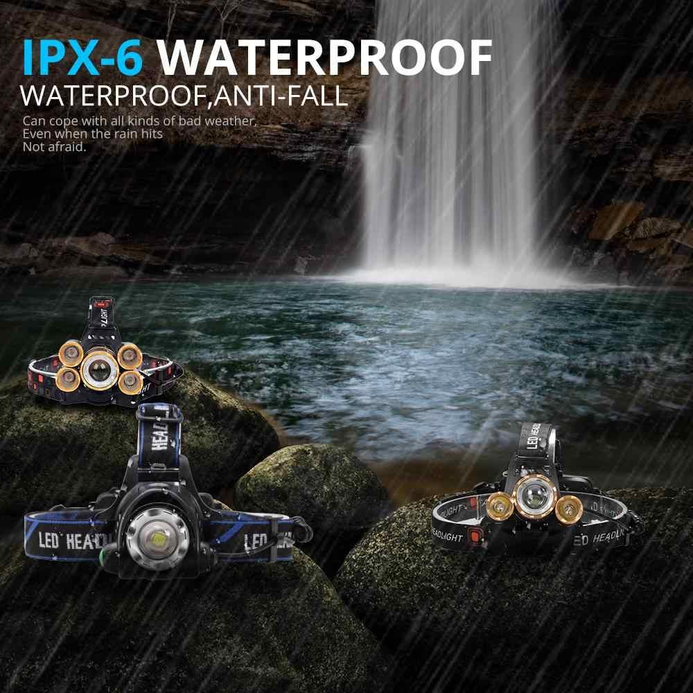 החזק ביותר 8000LM LED חיישן פנס פנס T6 ראש מנורת פנס לפיד ראש אור 18650 סוללה הטוב ביותר עבור קמפינג, דגים