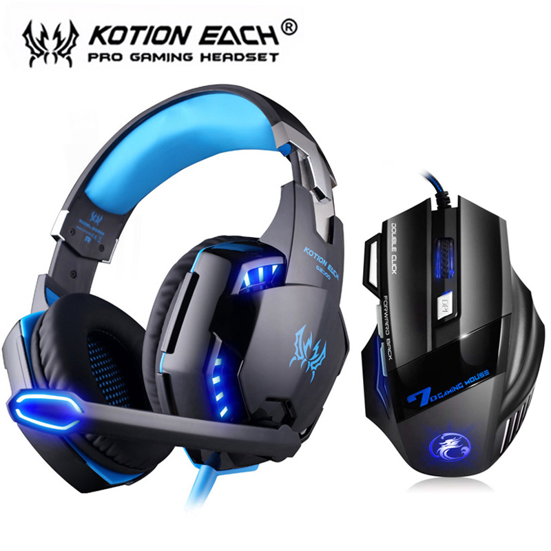 KOTION EACH G2000 Gaming Headset Stereo Deep Bass LED Headphone with Mic Professional Gamer + Optical USB Mouse Game Mice DPI image