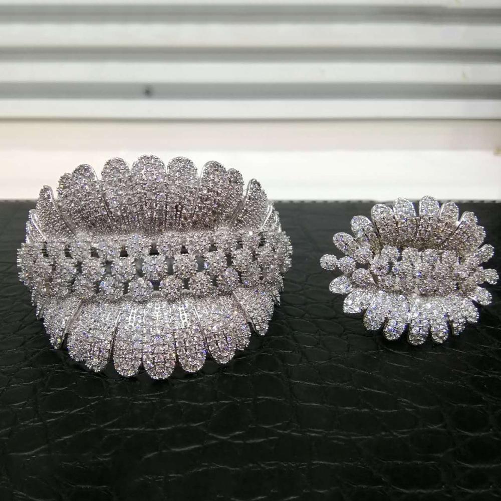 GODKI luksusowe Trendy moda kwiat liść geometria cyrkonia bransoletka ślubna dla kobiet bransoletka Ring Set wysokiej zestawy biżuterii w Zestawy biżuterii od Biżuteria i akcesoria na  Grupa 2