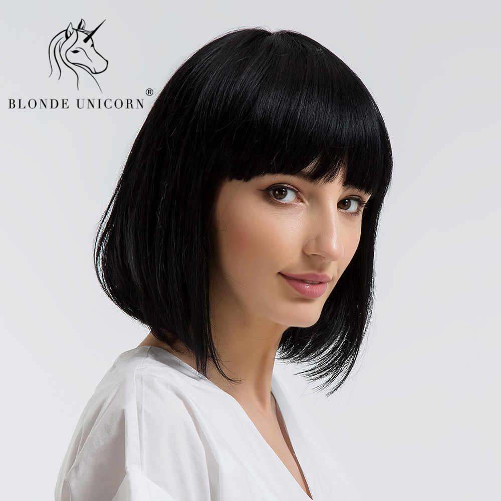 597eba2236 BLONDE UNICORN Synthetic Shoulder Length Bobo Wigs With Bangs Medium Hair  Natural 50% Human Hair