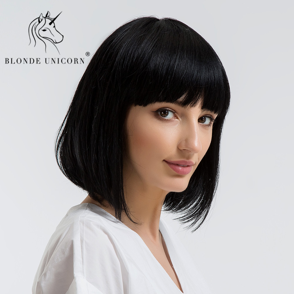 Us 34 99 30 Off Blonde Unicorn Synthetic Shoulder Length Bobo Wigs With Bangs Medium Hair Natural 50 Human Hair Straight Wigs For Women In
