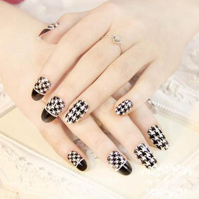 Hot Selling Top 50 Pcs Cute Houndstooth 3d Nail Art Sticker Nail Art