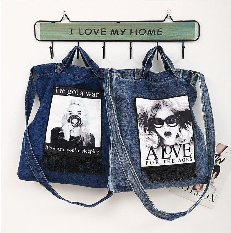 New Women Handbags Messenger Canvas Bag Fashionable Denim Jean Art Shopping Shoulder Messenger Blues Crossbody Bag Totes bags