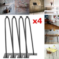 (Ship From UK) Mid Century Style Hairpin Table Legs 4 PCS 14 Inch Huge Loads Steel Replacement Leg 2 Rod Desk Furniture Parts