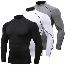 Компрессионные рубашки с высоким воротником для мужчин, Спортивная футболка для бодибилдинга, топ с длинными рукавами, футболка для тренажерных залов, Мужская облегающая футболка для фитнеса, Рашгард