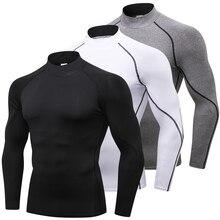 High collar Compression Shirts Men Bodybuilding Sportswear T shirt Long Sleeve Top Gyms T Shirt Men Fitness Tight Rashgard