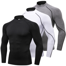 สูงการบีบอัดเสื้อชายเพาะกายกีฬาเสื้อยืดแขนยาวTop Gymsเสื้อยืดชายฟิตเนสกระชับRashgard