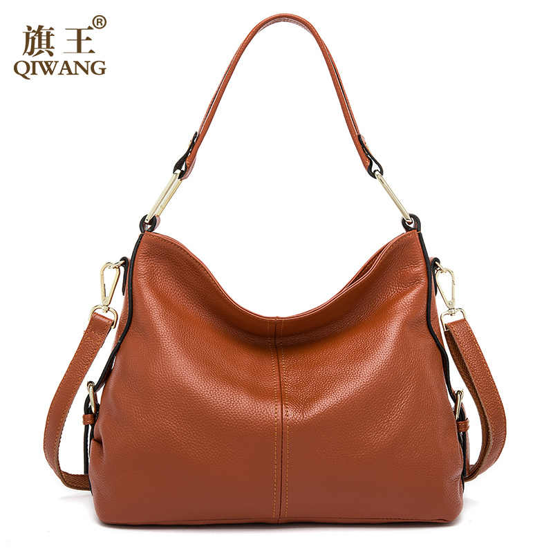 a70db9ff102f QIWANG 100% Genuine Leather Bag Brand Designer Cowhide Leather Handbags New HOBO  Purse Fasion Lad