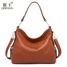QIWANG 100% Genuine Leather Bag Brand Designer Cowhide Leather Handbags New HOBO Purse Fasion Lady Pink Handbag High Quality