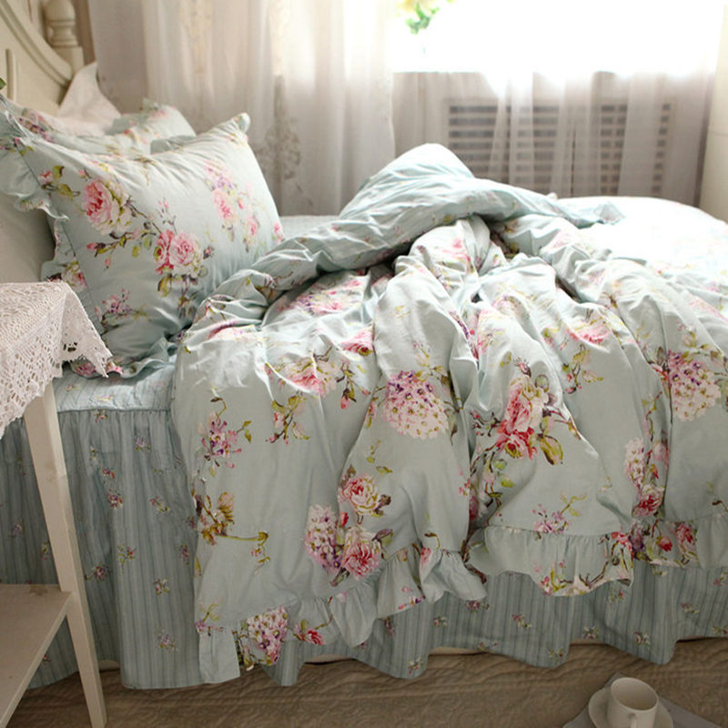 New European flower print bedding set rustic duvet cover bedding wrinkle bedspread bed sheet for wedding