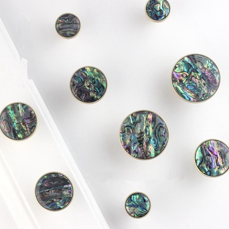 Round Marble Brass Decorative Kitchen Cabinet Knobs Furniture Hardware Cupboard Drawer Pull-1Pack