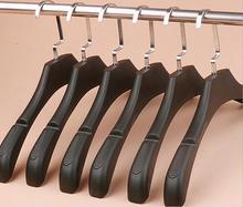 Hot Sale Luxury Thick Wide Shoulder Black Plastic Hanger for Coats,Anti slip, Mans Style (8 Pieces / Lot)